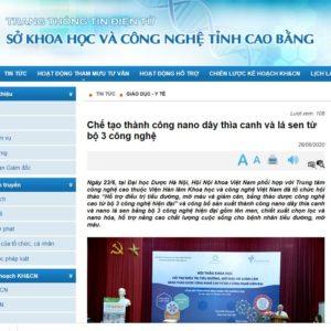Báo Sở KHCN Cao Bằng: Chế tạo thành công Nano Dây thìa canh và Lá sen từ bộ 3 công nghệ