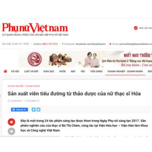 Báo Phụ nữ Việt Nam: Sản xuất viên tiểu đường công nghệ cao từ thảo dược của nữ thạc sĩ Hóa